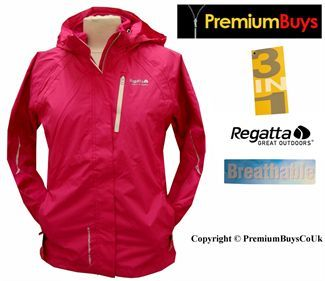 LADIES REGATTA MAGICSTAR 3in1 BREATHABLE WATERPROOF JACKET SIZE 8 ...