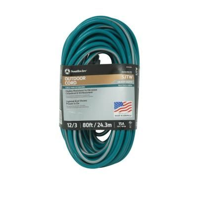 Southwire 80 Ft 12 3 Sjtw Multi Color Outdoor Heavy Duty Extension Cord With Power Light Plug 64808601 Extension Cord Green Grey Extensions