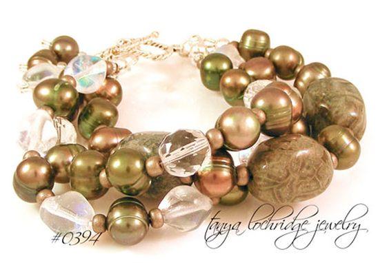 Green Mist Jasper, Pearl, Czech Glass Sterling Silver Bracelet