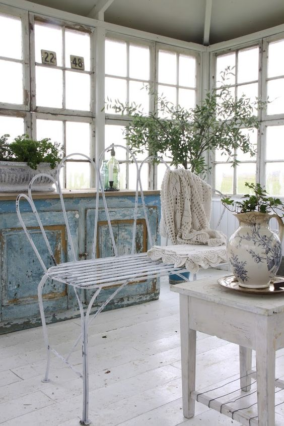 Patio furniture inside Whitewashed chippy shabby chic french country rustic swedish decor Idea. *** Repinned from Vibeke Svenningsen ***.