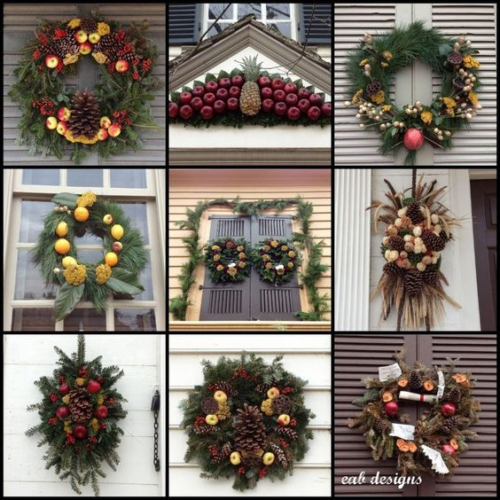 Christmas Decorated House Alexandria Va: Colonial Williamsburg, Colonial And Christmas Wreaths On