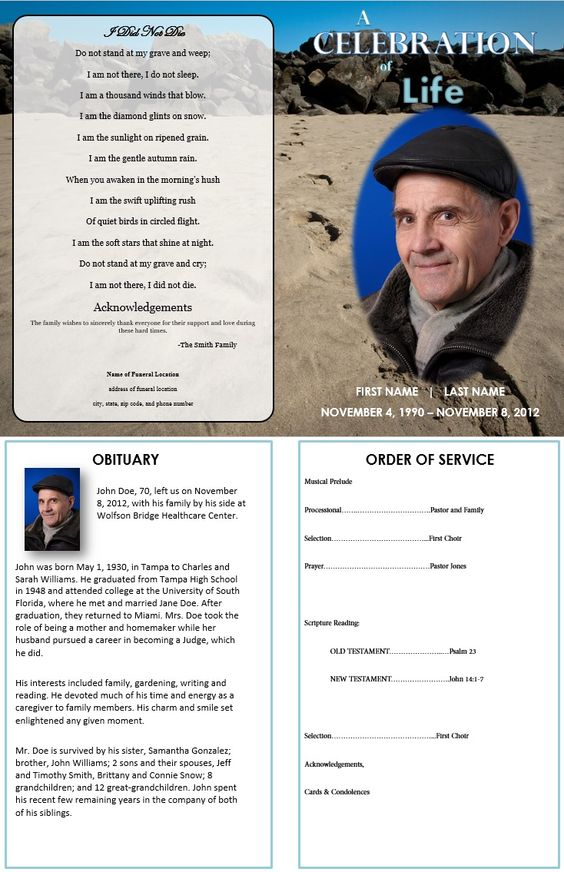 Single Fold Funeral-Memorial Program Template for Dad or - death announcement templates