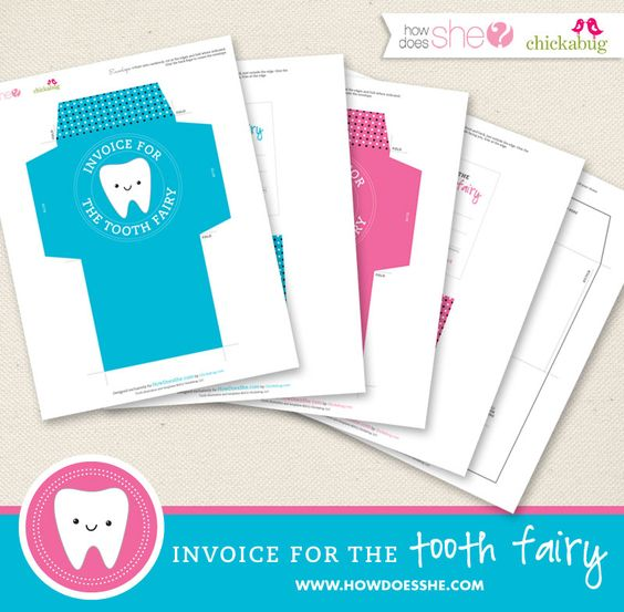 Tooth Fairy Printables. Includes an envelope for your child and notes to record all the teeth as they go missing over the years.