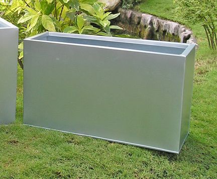 "Begonia Silver Tone Galvanized Steel Planter  - 24"" Rectangular"