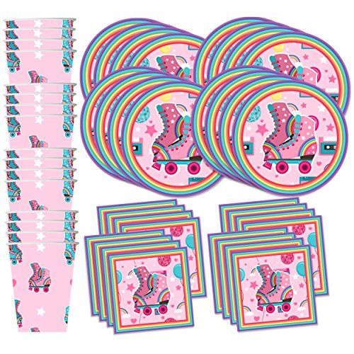 Roller Skating Birthday Party Supplies Set Plates Napkins Cups