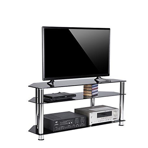 Rfiver Black Tempered Glass Corner Tv Stand Suit For Led Lcd Oled And Plasma Flat Screen Tvs Up To 55 In Glass Entertainment Center Corner Tv Corner Tv Stand Tv stand for flat screen tvs