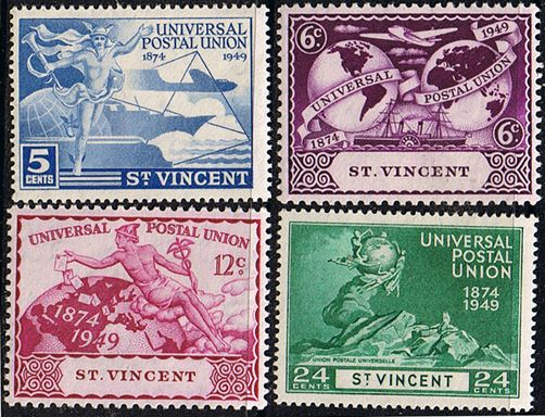 St Vincent 1949 Universal Postal Union Set Fine Mint SG178-181 Scott 170 - 173 Other Stamps of St Vincent HERE