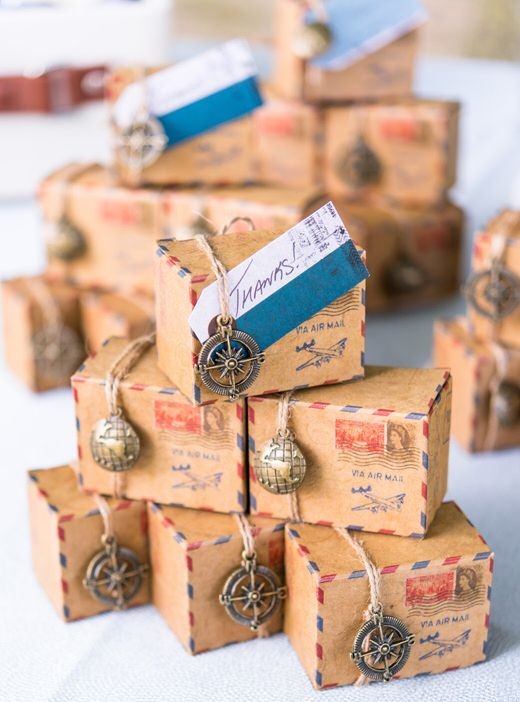 Having a wanderlust or travel themed wedding?  Check out these fun Vintage Inspired Airmail Favor Box Kits!