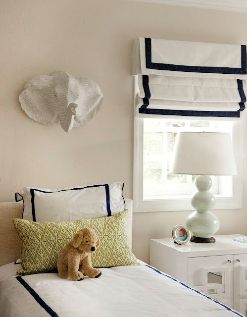 Valance Cornice Box With Roman Shade White Navy For
