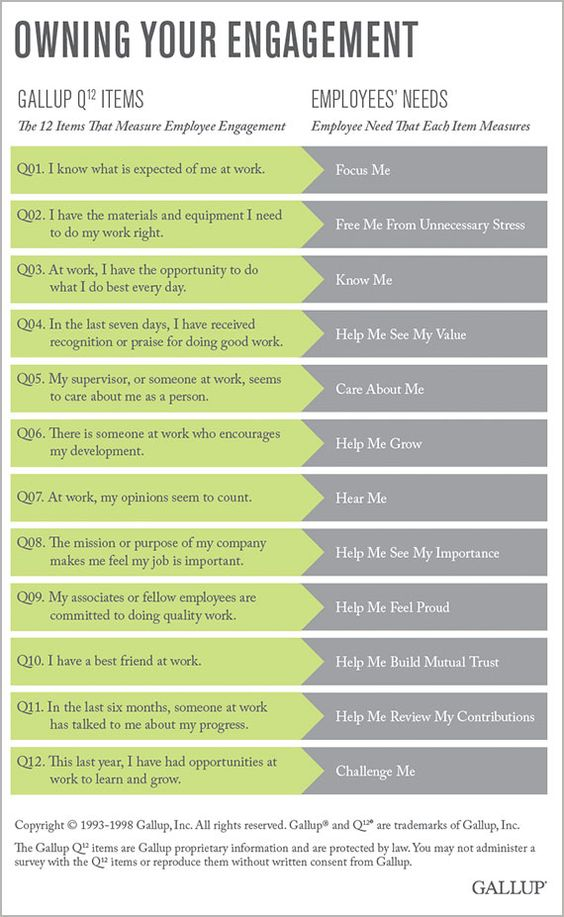 Engagement in the workplace. Owning Your Engagement- good questions to ask yourself. From Gallup