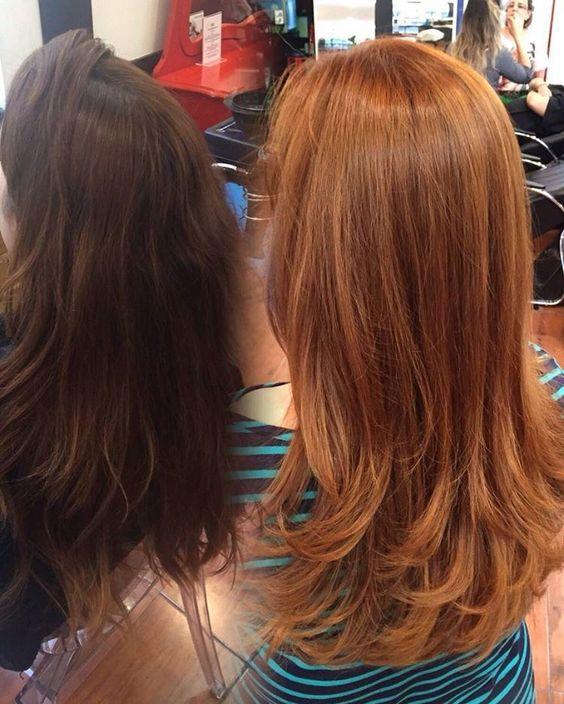"""Sabe o #ruivo perfeito que você conhece? @jeanphh, cabeleireiro no Circus Hair, faz ainda melhor! Variações da coloração 8-77 com outros tons de IGORA vão surpreender você: """"Aqui tivemos um caso de limpeza de cor! Utilizamos Igora Vario Blond Plus com oxidante de 20 volumes na proporção 1:3. Aplicação global com aproximadamente 20 minutos de pausa, que foi quando atingimos o fundo de clareamento laranja. Para a mistura da cor, utilizamos 8-77 com 9-55 em partes iguais. Oxidante de 10 volumes ..."""