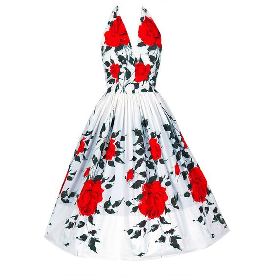 1950's Red-Roses Watercolor Floral-Print Cotton Halter Dress ❤ liked on Polyvore