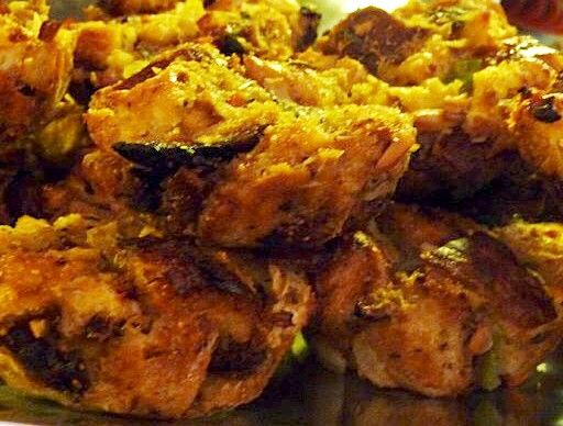 Fig and Almond Bread Stuffing Muffins (latkes):