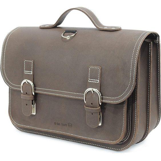 Own Stuff lederen boekentas 38cm - donker bruin marron