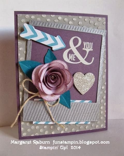 """By Margaret Raburn from """"Fun Stampin with Margaret!""""   Featuring the Stampin' Up! """"Perfect Pennants"""" stamp set.  Hearts a Flutter and On Film Framelits, Spiral Flower Die ... gorgeous!"""