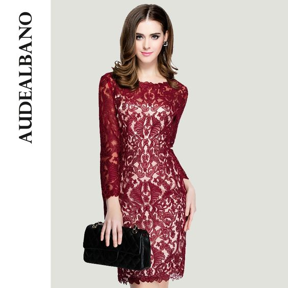 Audealbano Casual otoño mujer elegante flor del bordado del vestido vestidos encaje A-line