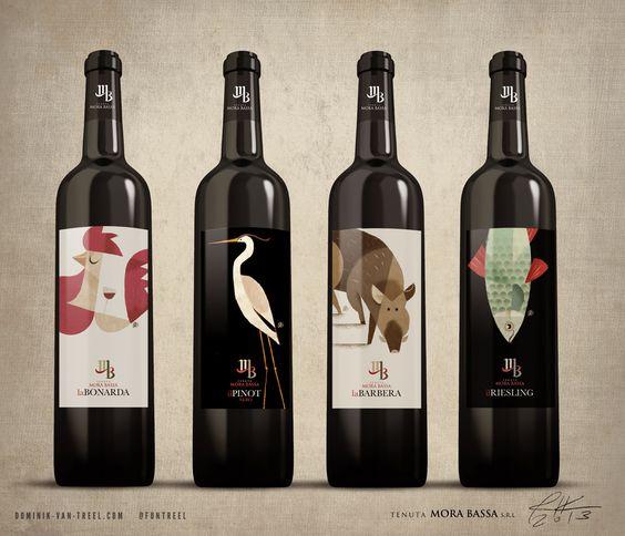 """Le graphiste italien Riccardo Guasco a choisi d'aller directement à l'essentiel en renseignant l'étiquette avec des illustrations suggestives. Un projet réalisé pour le label """"Tenuta Mora Bassa"""".  http://www.riccardoguasco.com"""