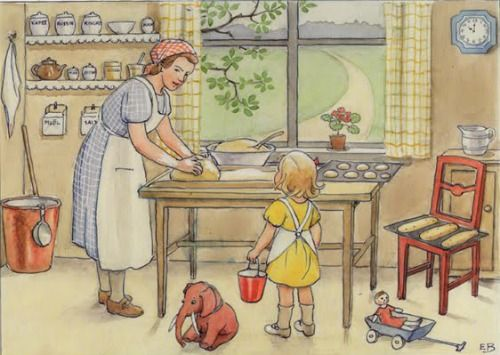 Charming illustration by Elsa Beskow (the Scandinavian Beatrix Potter) from the book Emily and Daisy.: