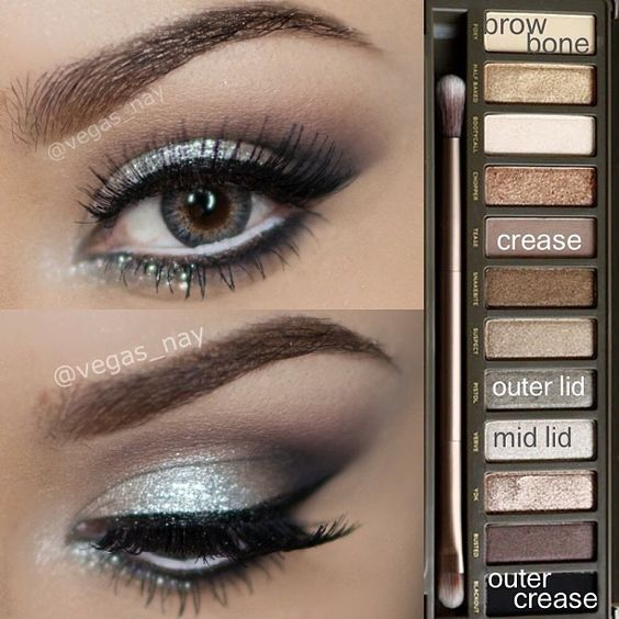 """Steps to Prom Silver Eyeshadow Request✨ using Urban Decay Naked Palette 2 1.) prime eye w/ UD primer potion and apply TEASE to crease 2.) pat VERVE to…"""