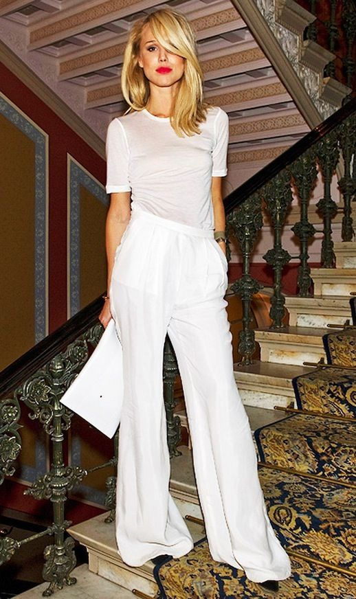 20 Alternative Wedding Looks Elin Kling White Minimal Tee Wide Leg Pants Bright Lipstick Non-Traditional Bride photo 5-20-Alternative-Wedding-Looks-Elin-Kling-White-Minimal-Tee-Wide-Leg-Pants-Bright-Lipstick-2.jpg: