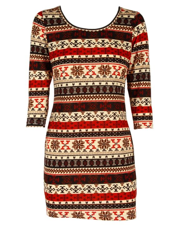 Red Fair Isle Print Cropped Sleeve Knit Dress- Christmas