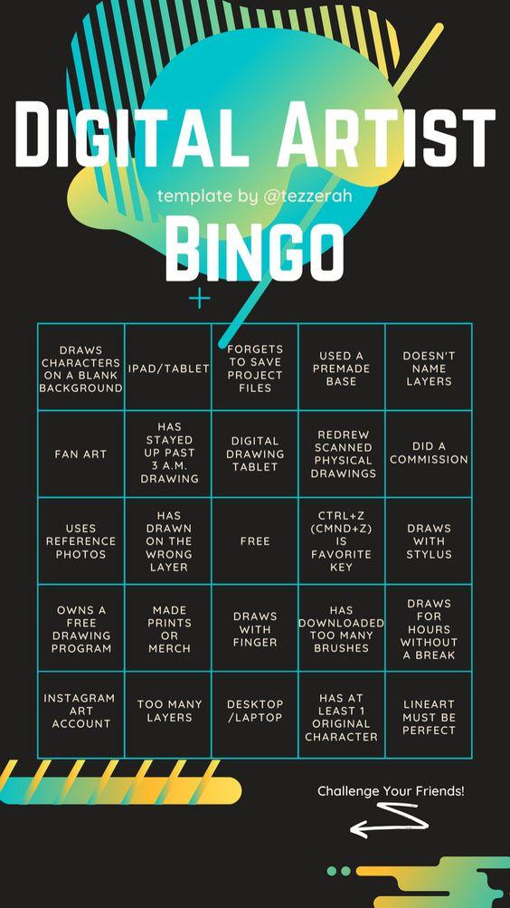 Digital Artist Bingo Instagram Story Bingo For Artists By An Artist This Particular Bingo Templat Instagram Artist Instagram Story Template Bingo Template
