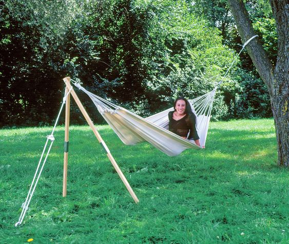 Tripod Hammock Stand - I like the idea of this for when you don't have 2 trees at an appropriate distance from each other.