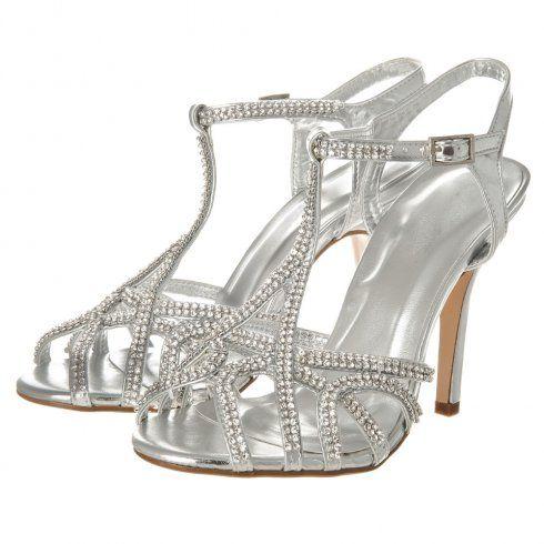 High Heel Ankle Strap Diamante Sandal.
