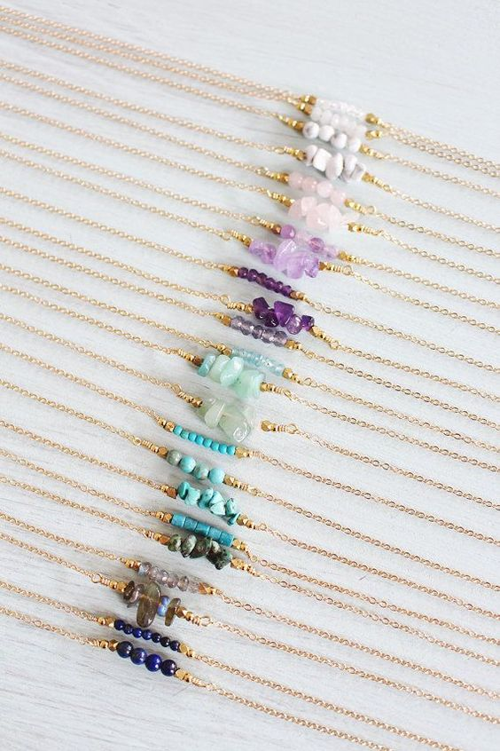 Gemstone Bar Necklace  Gemstone Necklace  by MoonTideJewellery