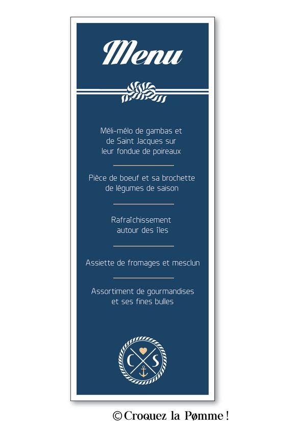 Menu - Collection Faire-part Mariage Cap Ferret de Croquez la pomme ! Bord de mer - lin doré et marine  Wedding invitation ©croquezlapomme
