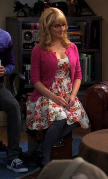 Bernadettes pink floral dress with cardigan on The Big Bang Theory.  Outfit Details: http://wornontv.net/735/ #TheBigBangTheory