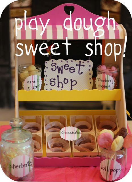 Sweet shop role-play area children can make using their knowledge of time, money, weights and measures, division, fractions.