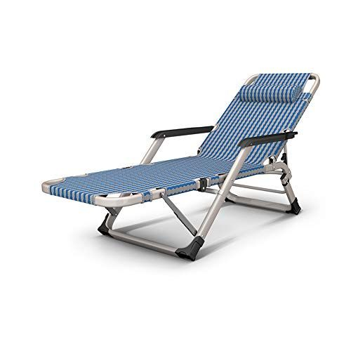 Fh Deck Chair Backrest Adjustable Lunch Break Multi Function Recliner Portable Home Balcony Lounge Chair Silver Blue Deck Chairs Portable House Lounge Chair