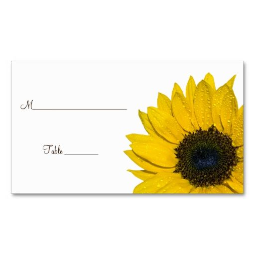 Sunflower Wedding Or Special Occasion Place Cards Business Card Templates Make Your Own