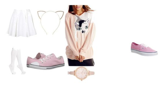 """""""Little Pink Neko"""" by thesammysaurus on Polyvore featuring Cara, River Island, Hue, Topshop, Vans and Converse"""