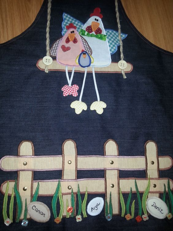 personalized aplique and painting aprons