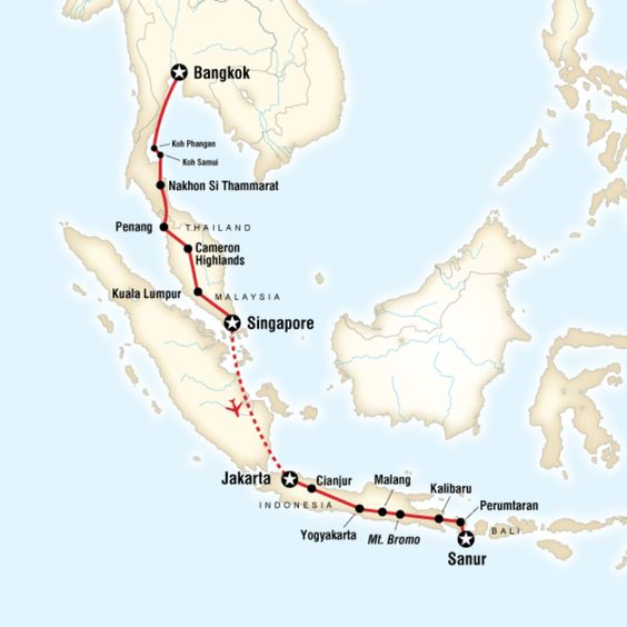 Map of the route for Bangkok to Bali on a Shoestring – Map Out Travel Route