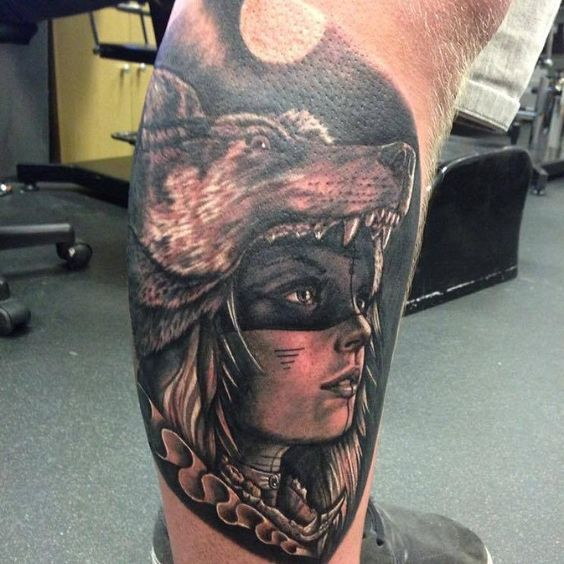 Tattoos Wolf Tattoos Headdress Tattoo: Woman With Wolf Headdress Tattoo - Ben Redgell