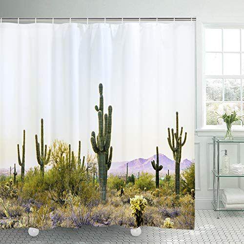 72x72/'/' Desert Cactus Bathroom Shower Curtain Sets Waterproof Fabric /& 12 Hooks