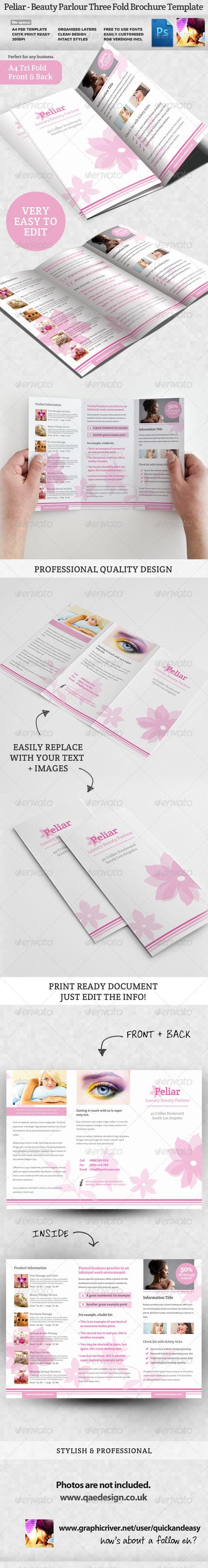 Peliar Beauty Hair Salon 3 Fold Brochure Flyer Template Hair Salons And Leaflets