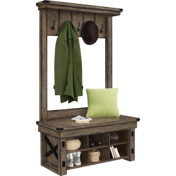 Altra Furniture Wildwood Wood Veneer Entryway Hall Tree with Storage Bench