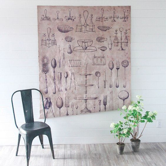 Our new Tableware Linen Wall Hanging is perfect for that space you aren't sure what to do with. It's large enough to make a statement, and the neutral linen color will likely match your existing decor! | Shop link in profile |