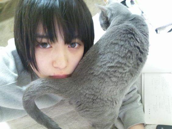 猫と戯れる森川葵