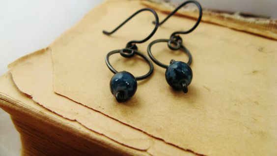 Navy Blue 'n Curly Loop Earrings by palemoons on Etsy, $16.00