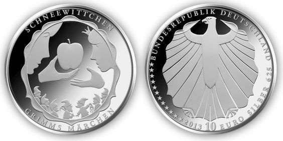 "In 2013, Germany started producing a 10 Euro coin in commemoration of ""200 Years of Brothers Grimm"", a six-year series on ""Grimm's Fairy Tales."""