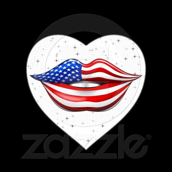 #USA #Flag #Lipstick on #Smiling #Lips #Heart #Sticker © #Bluedarkat - on #Zazzle!