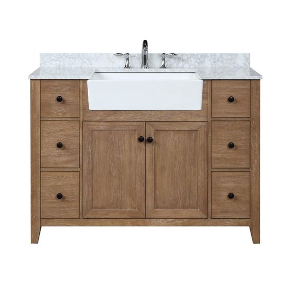 Ari Kitchen And Bath Sally 48 In Single Bath Vanity In Ash Brown With Marble Vanity Top In Carrara White With Farmhouse Basin Akb Sally 48 Ashbr The Home Dep Wood Bathroom Vanity Marble