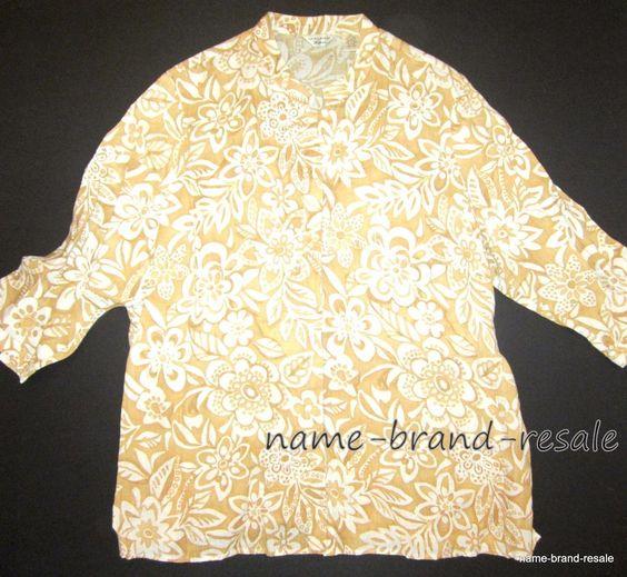 LAURA ASHLEY Woman 100% Linen Shirt Womens PLUS 2X Tan Floral Button Down Blouse #LauraAshley #ButtonDownShirt #Casual