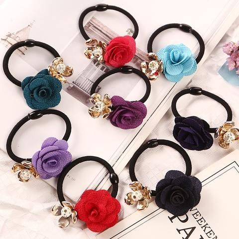 1pc Gold Plated Crystal Rose Flower Hair Rubber Bands Black