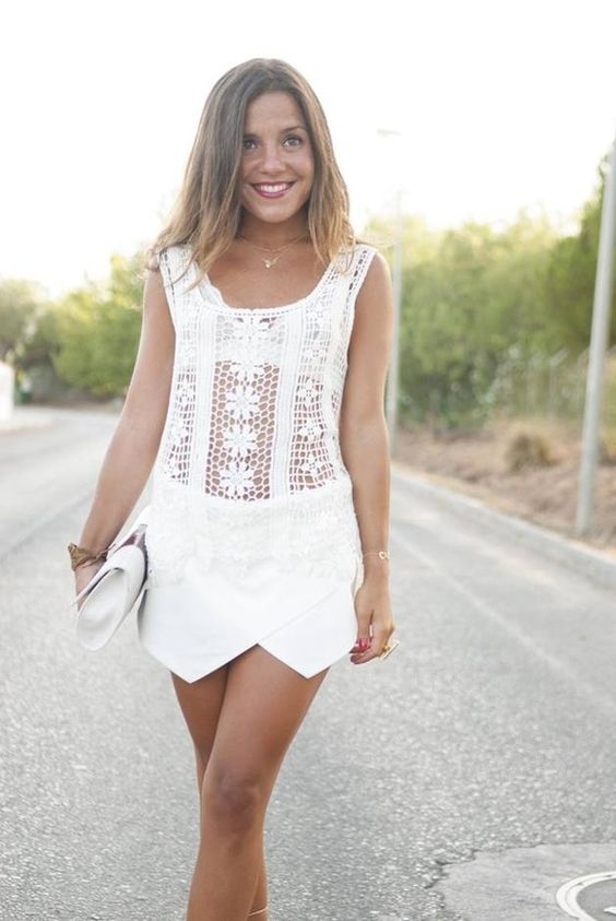 The Total White Look  #Lace #Tank #Skirt #White  It's about more than golfing,  boating,  and beaches;  it's about a lifestyle! www.PamelaKemper.com KW homes for sale in Anna Maria island Long Boat Key Siesta Key Bradenton Lakewood Ranch Parrish Sarasota Manatee